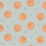 Teste padrão sem emenda da bola do basquetebol para o fundo, Web, elementos do estilo Esboço desenhado mão Coleção do vetor do es Foto de Stock