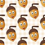 Teste padrão sem emenda da bolota feliz dos desenhos animados Imagens de Stock Royalty Free
