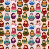Teste padrão sem emenda da boneca do russo Imagens de Stock Royalty Free