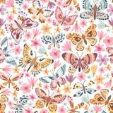Teste padrão sem emenda da borboleta do vetor ilustração stock