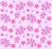 Teste padrão sem emenda da borboleta e de flor Imagens de Stock Royalty Free
