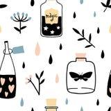 Teste padrão sem emenda da bruxa do vetor com garrafas mágicas ilustração do vetor