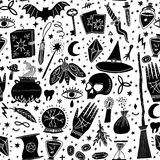 Teste padrão sem emenda da bruxa mágica do vetor witchcraft ilustração stock