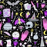 Teste padrão sem emenda da bruxa mágica do vetor witchcraft ilustração royalty free