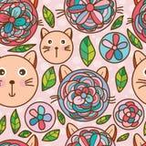 Teste padrão sem emenda da cabeça do gato da flor Fotos de Stock