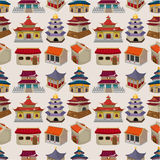 Teste padrão sem emenda da casa chinesa dos desenhos animados Fotografia de Stock Royalty Free