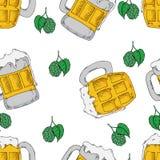 Teste padrão sem emenda da cerveja para sazonal, outono, o projeto o mais octoberfest ilustração do vetor