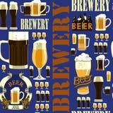 Teste padrão sem emenda da cervejaria Imagens de Stock Royalty Free