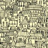 Teste padrão sem emenda da cidade dos desenhos animados Ilustração Stock