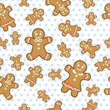 Teste padrão sem emenda da cookie do gengibre do vetor Fotografia de Stock