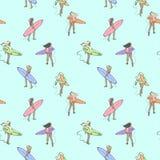 Teste padrão sem emenda da cor com as meninas com as placas de ressaca que andam ao longo da praia ilustração royalty free