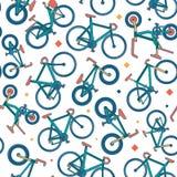 Teste padrão sem emenda da cor da bicicleta do vetor com beiras Foto de Stock Royalty Free
