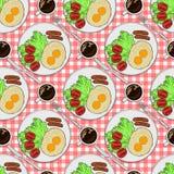 Teste padrão sem emenda da cor Placa com opinião superior do café da manhã Ovos fritos com salsichas e tomates e café preto ilustração do vetor