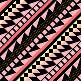 Teste padrão sem emenda da cor retro Cópia geométrica abstrata extravagante da arte O ornamental étnico do moderno alinha o conte Fotos de Stock