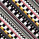 Teste padrão sem emenda da cor retro Cópia geométrica abstrata extravagante da arte O ornamental étnico do moderno alinha o conte Imagens de Stock Royalty Free
