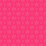 Teste padrão sem emenda da coroa Série cor-de-rosa da princesa Imagens de Stock