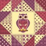 Teste padrão sem emenda 2 da coruja dos retalhos Fotografia de Stock Royalty Free