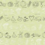 Teste padrão sem emenda da cozinha com os vegetais na luz - fundo verde Ilustração do vetor Fotografia de Stock