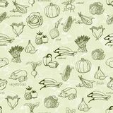 Teste padrão sem emenda da cozinha com uma variedade de vegetais Ilustração do vetor Imagem de Stock
