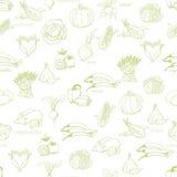 Teste padrão sem emenda da cozinha com uma variedade de vegetais na luz - fundo verde ilustração royalty free