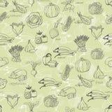 Teste padrão sem emenda da cozinha com uma variedade de vegetais na luz - fundo verde Ilustração do vetor Imagem de Stock