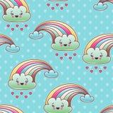 Teste padrão sem emenda da criança do kawaii com garatujas bonitos Imagem de Stock Royalty Free