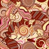 Teste padrão sem emenda da criança do kawaii com garatujas bonitos dos doces ilustração royalty free