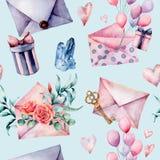 Teste padrão sem emenda da decoração do aniversário da aquarela com envelope e caixa de presente Balões de ar pintados à mão, ram ilustração royalty free