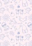 Teste padrão sem emenda da escola do doodle para meninas Fotografia de Stock