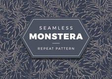 Teste padrão sem emenda da escova de Monstera ilustração royalty free