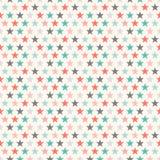 Teste padrão sem emenda da estrela colorida retro Vetor Fotos de Stock Royalty Free