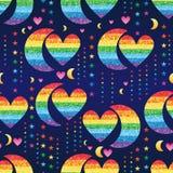 Teste padrão sem emenda da estrela do brilho do arco-íris do amor da meia lua Fotografia de Stock Royalty Free