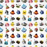 Teste padrão sem emenda da face do robô dos desenhos animados Fotos de Stock Royalty Free