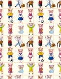 Teste padrão sem emenda da família de gato dos desenhos animados Foto de Stock Royalty Free