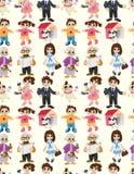 Teste padrão sem emenda da família dos desenhos animados Fotografia de Stock Royalty Free