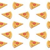 Teste padrão sem emenda da fatia da pizza Ilustração do vetor Fotos de Stock