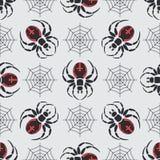 Teste padrão sem emenda da fauna dos animais selvagens do vetor liso da cor com aranha da viúva negra ilustração royalty free