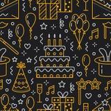Teste padrão sem emenda da festa de anos, linha ilustração lisa Vector ícones da agência do evento, organização do casamento - bo ilustração do vetor
