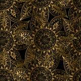 Teste padrão sem emenda da flor abstrata do ouro Ilustração Stock