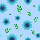 Teste padrão sem emenda da flor azul ilustração stock