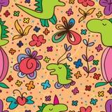 Teste padrão sem emenda da flor bonito de Dino Fotografia de Stock Royalty Free