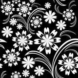 Teste padrão sem emenda da flor branca no preto. Fotografia de Stock