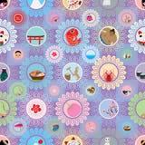 Teste padrão sem emenda da flor da imagem do círculo de japão da visita ilustração stock