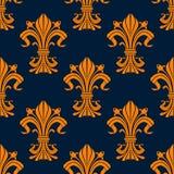 Teste padrão sem emenda da flor de lis alaranjada e azul Imagens de Stock