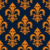 Teste padrão sem emenda da flor de lis alaranjada e azul Fotografia de Stock Royalty Free