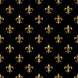 Teste padrão sem emenda da flor de lis Molde do estilo de Ols Textura clássica floral Fundo retro do lírio real da flor de lis Vi Imagens de Stock Royalty Free