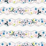 Teste padrão sem emenda da flor delicada bonita da liberdade da listra do ziguezague, ilustração stock