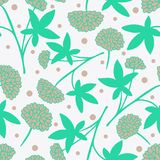 Teste padrão sem emenda da flor delicada com as ervas medicinais desenhados à mão ilustração do vetor