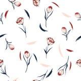 Teste padrão sem emenda da flor na moda da tulipa do Wildflower em um drawin da mão Fotos de Stock Royalty Free