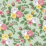 Teste padrão sem emenda da flor retro - rosas Imagens de Stock